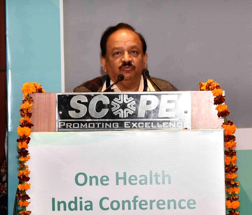 Union Science and Technology Minister Harsh Vardhan addresses at the inauguration of the One Health India Conference 2019, in New Delhi, on Feb 18, 2019. - Harsh Vardhan