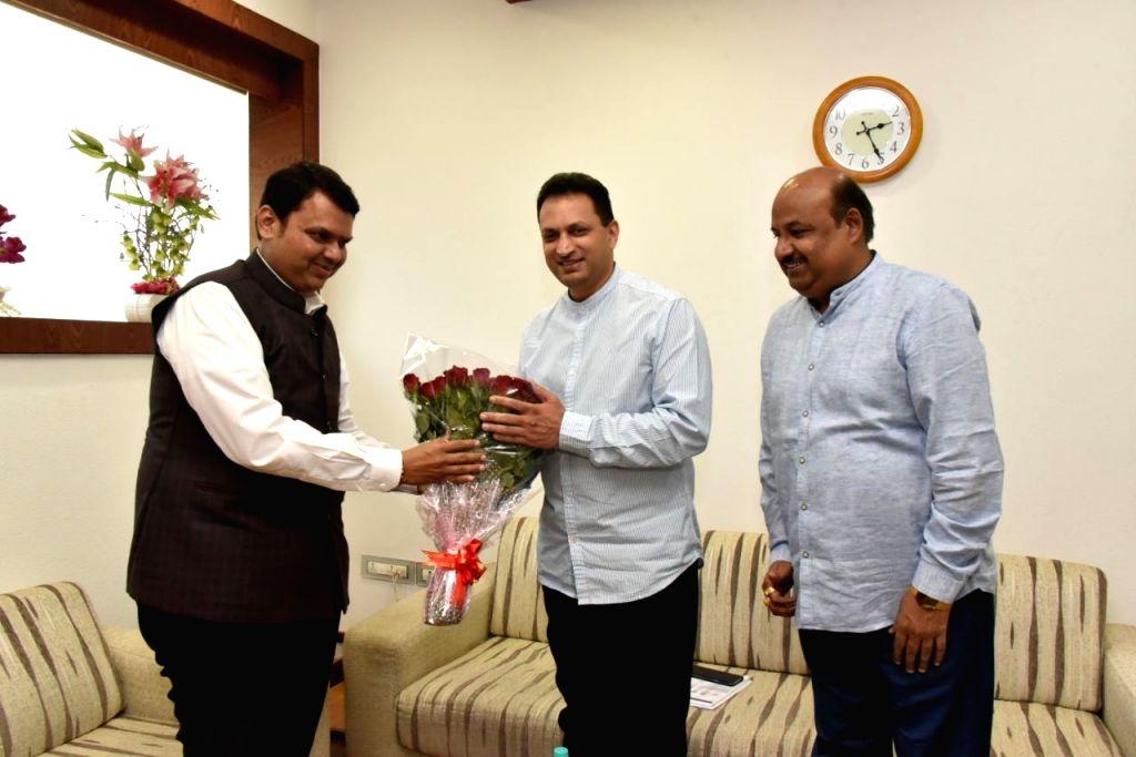 Union Skill Development and Entrepreneurship Minister Anantkumar Hegde calls on Maharashtra Chief Minister Devendra Fadnavis in Mumbai on Feb 12, 2018. - Anantkumar Hegde