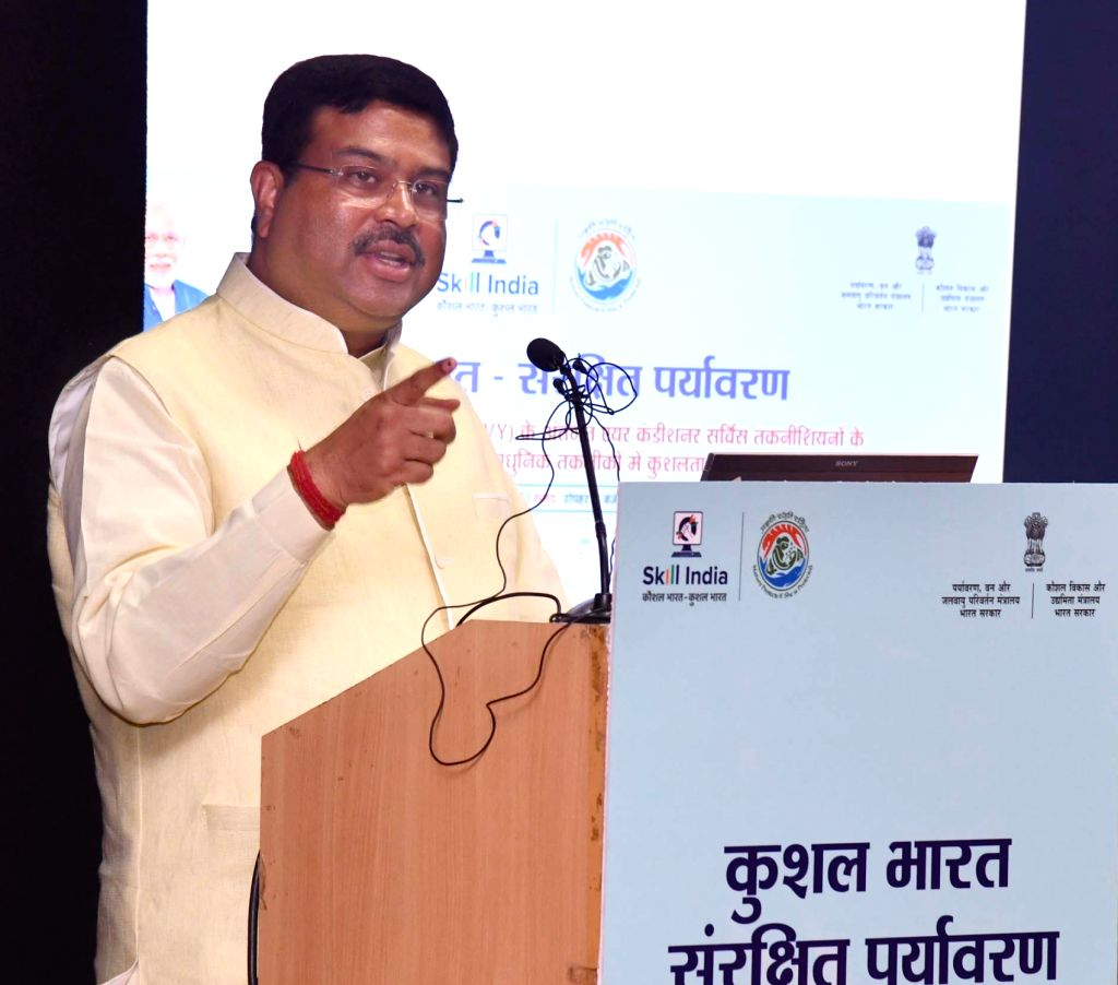 Union Skill Development and Entrepreneurship Minister Dharmendra Pradhan addresses during the MoU signing ceremony between the Ministry of Environment, Forest and Climate Change and the ... - Dharmendra Pradhan