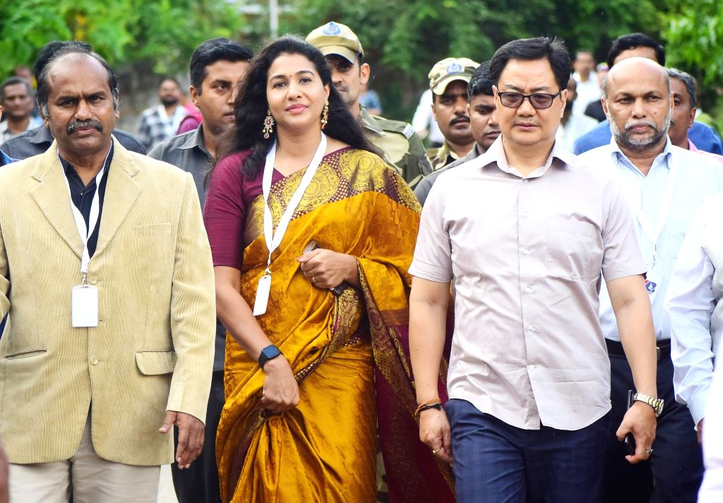Union Sports and Youth Affairs Minister Kiren Rijiju along with Indian long jumper Anju Bobby George during his visit to Anju Bobby Sports Academy, in Bengaluru on Sep 27, 2019. - Kiren Rijiju