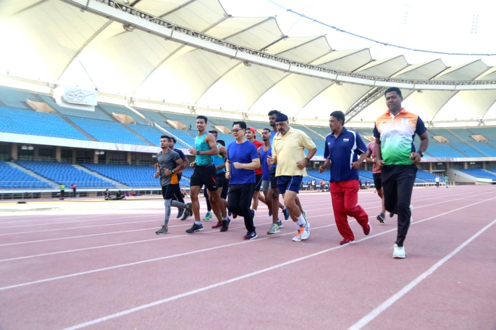 Union Sports Minister Kiren Rijiju meets athletes for morning exercise, breakfast at Jawaharlal Nehru Stadium in New Delhi on June 14, 2019. - Kiren Rijiju