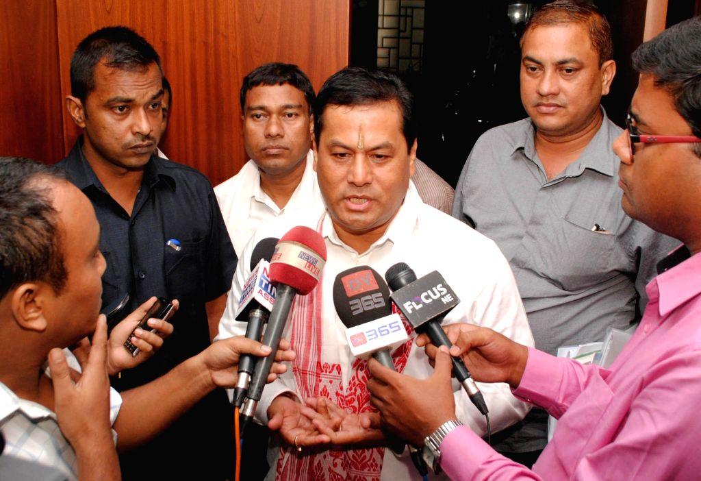 Union Sports Minister Sarbananda Sonowal during talks to press in Guwahati on Sept 2, 2014. - Sarbananda Sonowal