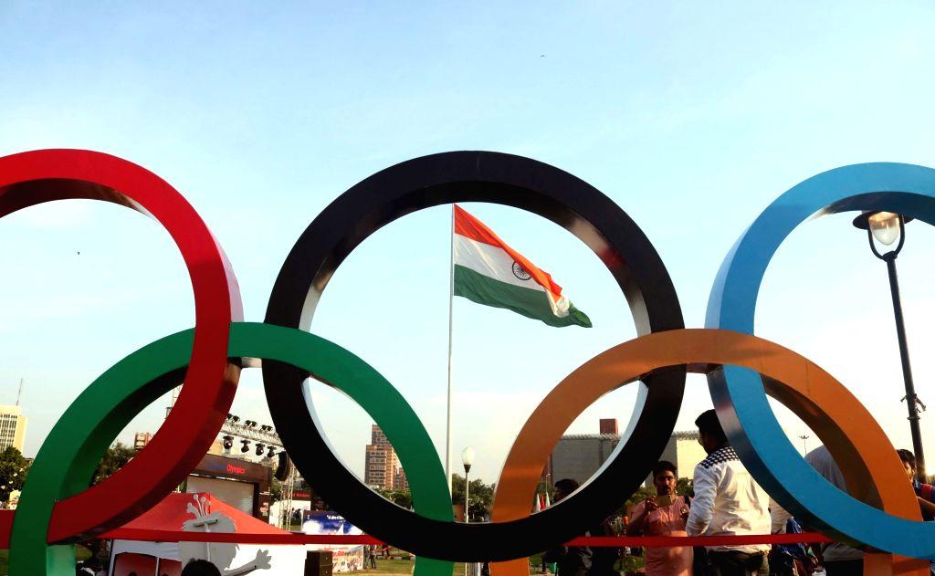 Union Sports Minister Vijay Goel with Indian cricketer Gautam Gambhir, athlete Anju Bobby George, weightlifter Karnam Malleswari at the inauguration of an exhibition ahead of Rio 2016 ... - Vijay Goel