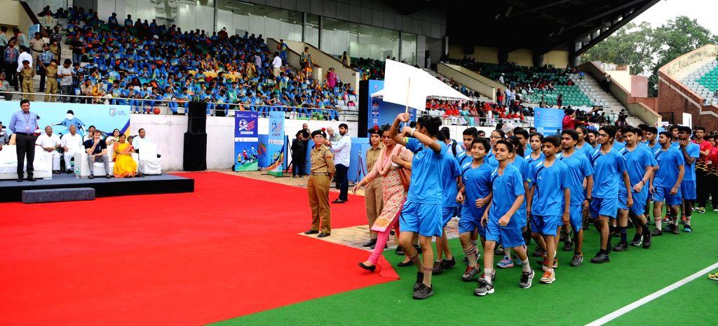 Union Sports Secretary Injeti Srinivas at the Curtain Raiser function for FIFA Under 17 World Cup 2017, in New Delhi on Aug 19, 2017. Also seen FIFA U-17 World Cup tournament director ... - Javier Ceppi