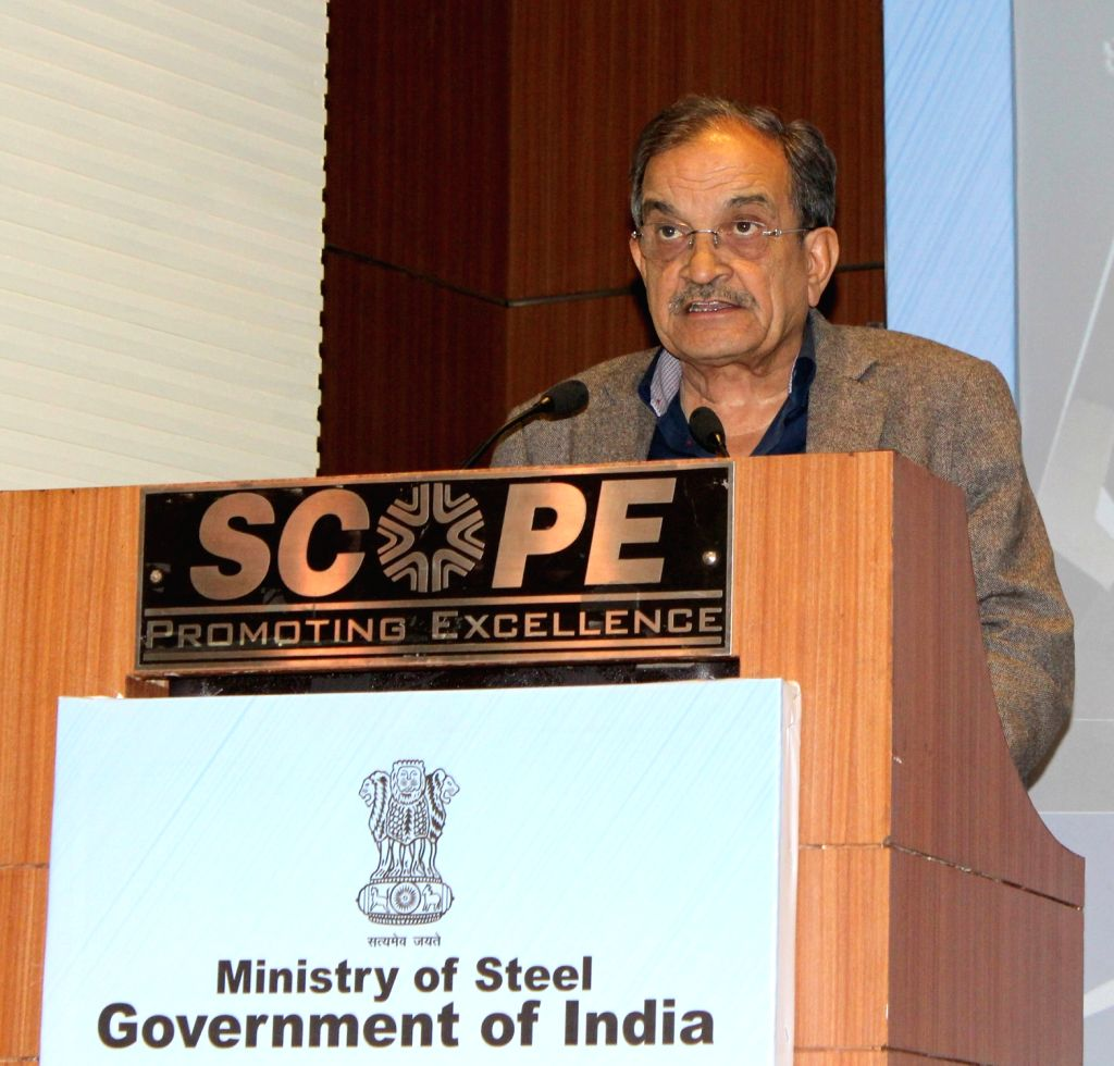 Union Steel Minister Chaudhary Birender Singh addresses at the presentation of the 25th Prime Minister's Trophy Awards 2016-17 for outstanding performance of integrated steel plants, in ... - Chaudhary Birender Singh