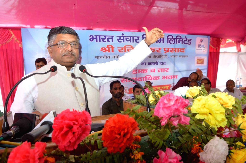 Union Telecom Minister Ravi Shankar Prasad addresses during the opening of a community hall in Patna on April 23, 2016. - Ravi Shankar Prasad