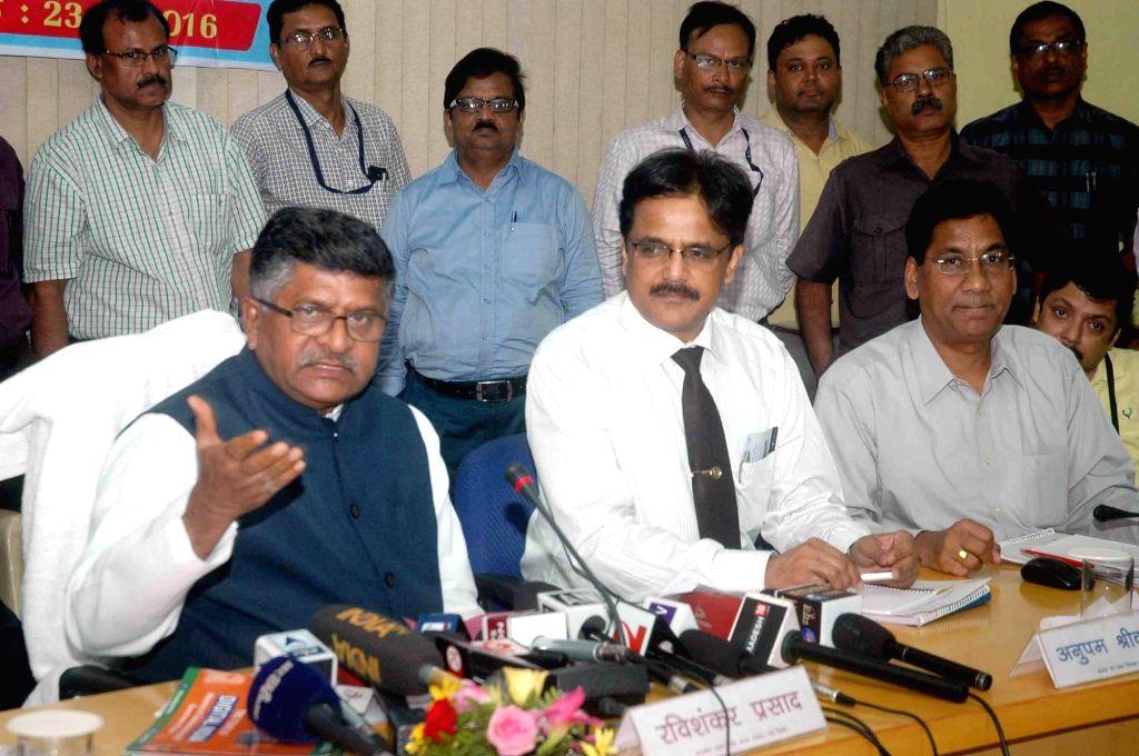 Union Telecom Minister Ravi Shankar Prasad addresses a press conference in Patna, on June 23, 2016. - Ravi Shankar Prasad