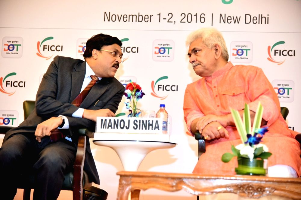 "Union Telecom MoS Manoj Sinha during a India TELECOM 2016 conference on ""Transforming India"" in New Delhi on Nov 1, 2016. - Manoj Sinha"