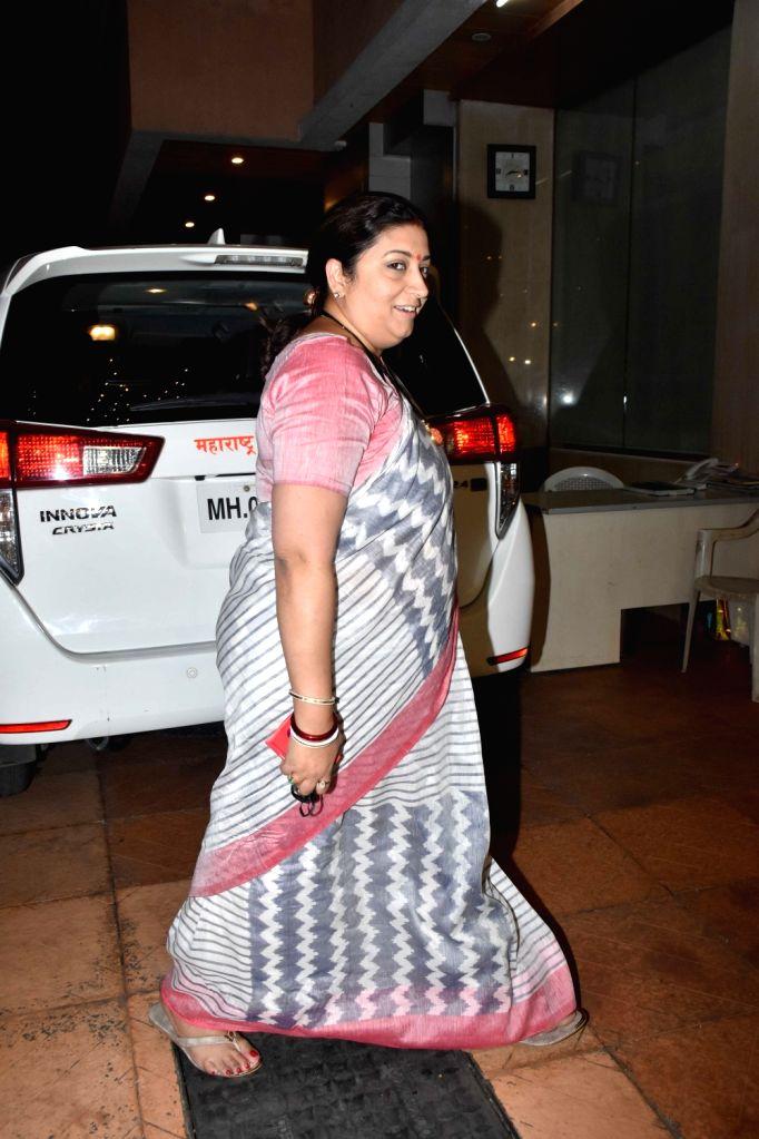 Union Textile Minister Smriti Irani arrives to attend the naming ceremony of producer Ekta Kapoor's son in Mumbai on Feb 11, 2019. - Smriti Irani and Ekta Kapoor