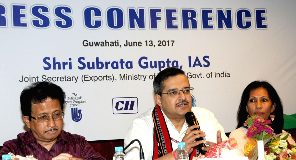 "Union Textiles additional secretary Subrata Gupta addresses a press conference on ""Textile India 2017"" in Guwahati on June 13, 2017. - Subrata Gupta"