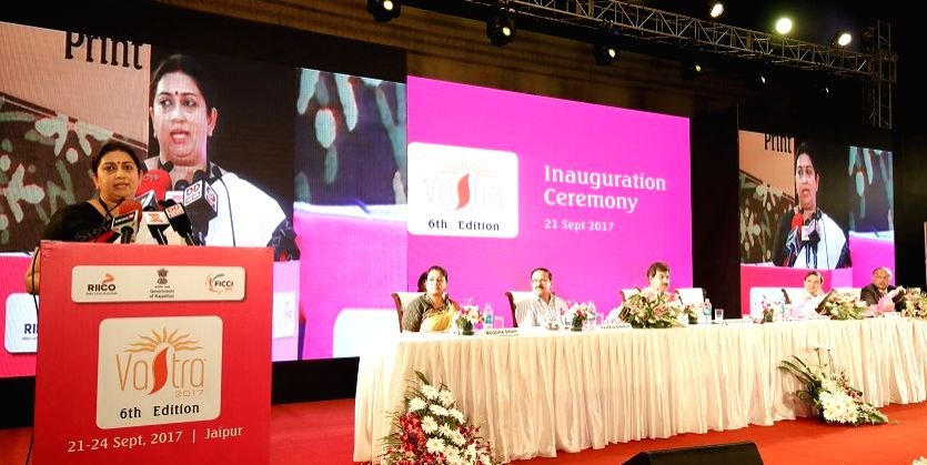 Union Textiles and Information and Broadcasting (I&B) Minister Smriti Irani addresses during the inauguration of the 6th edition of International Apparel and Textile Fair 'VASTRA 2017' in ... - Smriti Irani