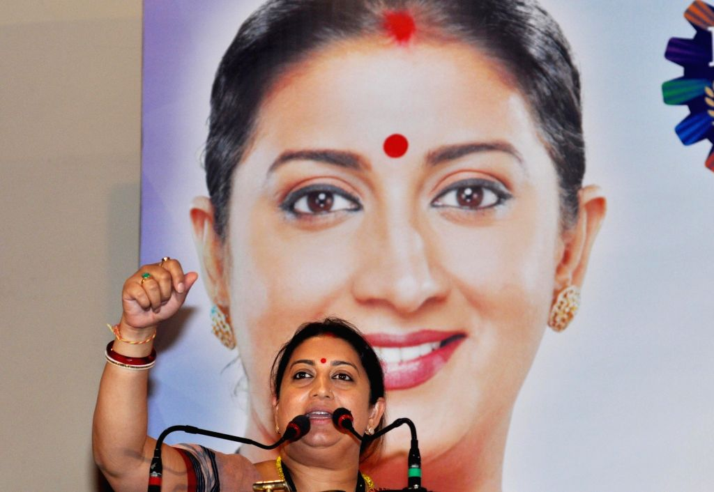 Union Textiles Minister Smriti Irani addresses during a special session on 'Recent Developments in the Textile Industry: The Road Ahead' in Kolkata on May 31, 2018. - Smriti Irani