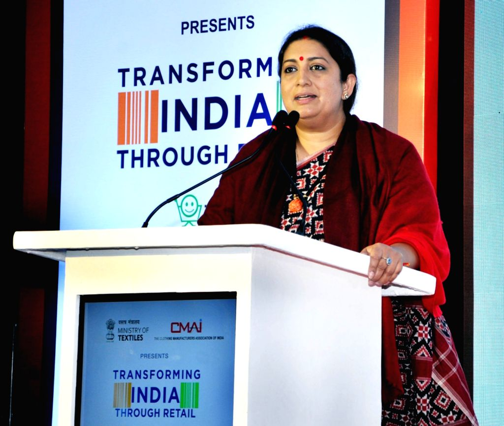 Union Textiles Minister Smriti Irani addresses during 'Transforming India through Retail' Awards organised by Clothing Manufacturers Association of India (CMAI), in Mumbai on Feb 6, 2019. - Smriti Irani