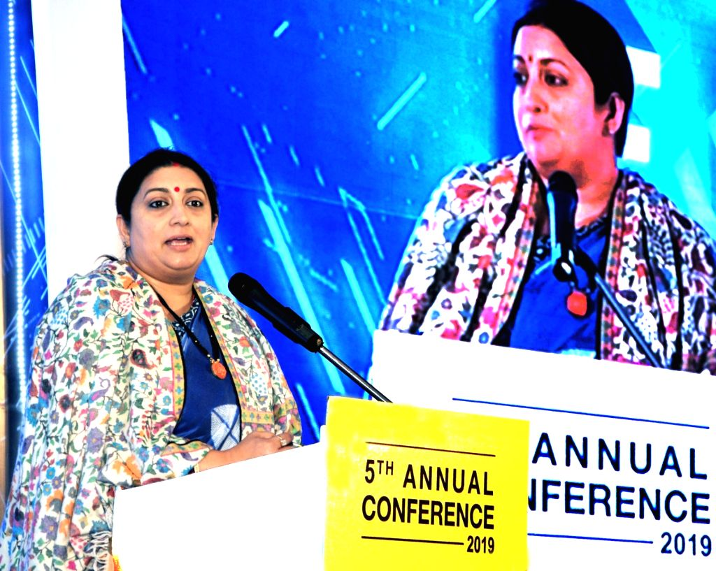 Union Textiles Minister Smriti Irani addresses during the 5th Annual Conference of Foundation of Independent Financial Advisors, in Mumbai on Feb 8, 2019. - Smriti Irani