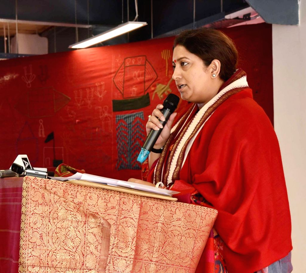 Union Textiles Minister Smriti Irani addresses after the inauguration of the refurbished Handloom Haat, in New Delhi, on March 5, 2019. - Smriti Irani