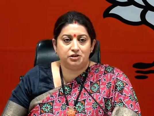 Union Textiles Minister Smriti Irani addresses a press conference in New Delhi, on March 13, 2019. - Smriti Irani