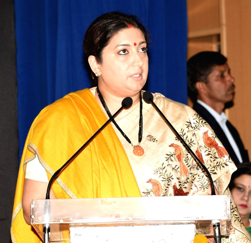 Union Textiles Minister Smriti Irani addresses at the inauguration of the National Conclave on Creating Synergy for Micro, Small and Medium Enterprises (MSMEs) in Textiles Sector, in New ... - Smriti Irani