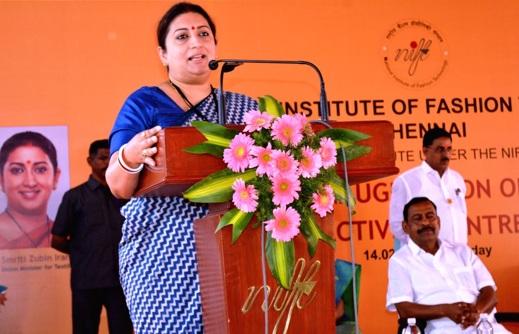 Union Textiles Minister Smriti Irani addresses at the inauguration of the Student Multi Activity Centre and Girls Hostel of the National Institute of Fashion Technology (NIFT), in Chennai, ... - Smriti Irani