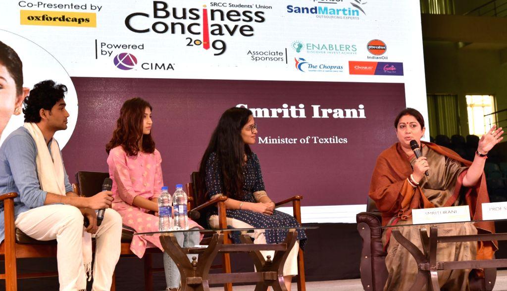 Union Textiles Minister Smriti Irani addresses at the Business Conclave - 2019, in New Delhi, on Feb 15, 2019. - Smriti Irani
