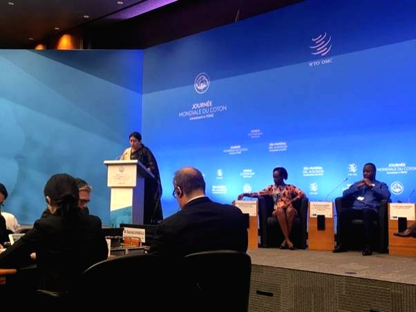 Union Textiles Minister Smriti Irani addresses at the Partners Conference organised as part of the opening session of the World Cotton Day programme, in Geneva, Switzerland on Oct 7, 2019. - Smriti Irani