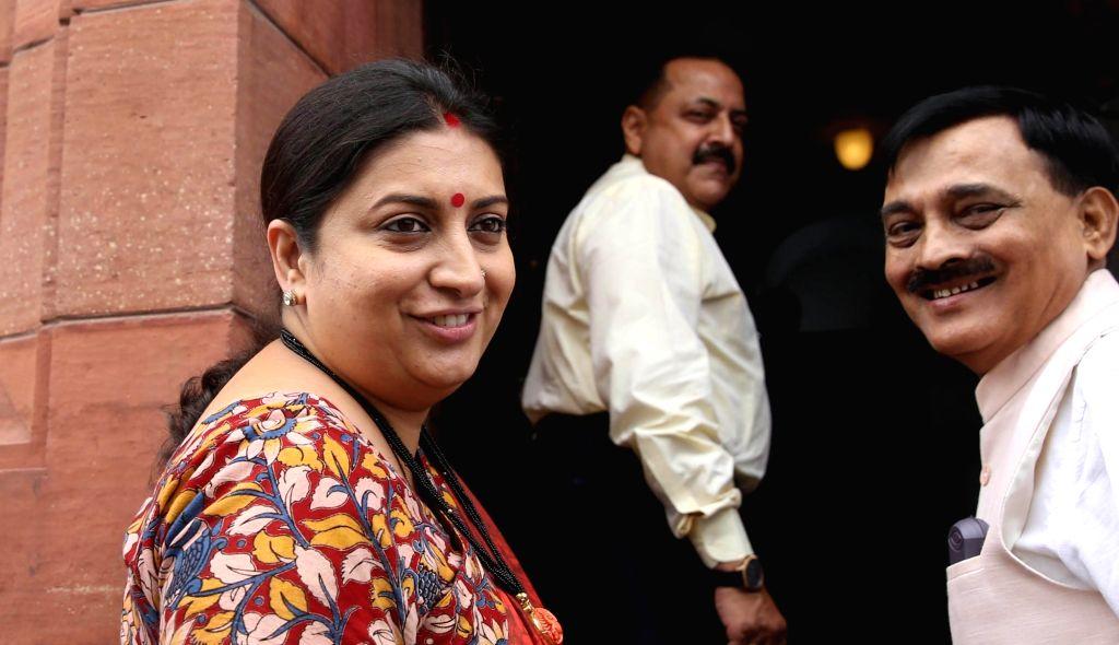 Union Textiles Minister Smriti Irani at Parliament in New Delhi on Aug 10, 2017. - Smriti Irani