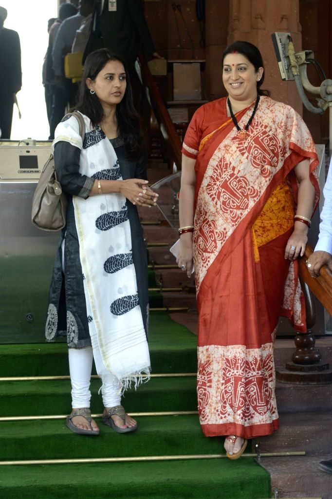 Union Textiles minister Smriti Irani at the Parliament on Nov 21, 2016. - Smriti Irani