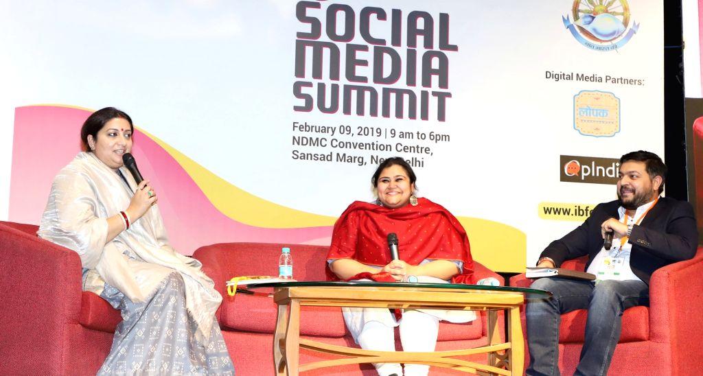 Union Textiles Minister Smriti Irani at the Hashtag the Social Media Summit, in New Delhi on Feb 9, 2019. - Smriti Irani