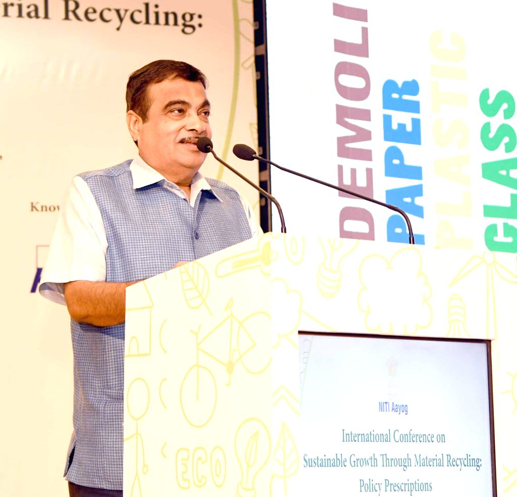"""Union Transport Minister Nitin Gadkari addresses at the inaugural session of the """"International Conference on Sustainable Growth through Material Recycling"""", in New Delhi, on  Aug 6, ... - Nitin Gadkari"""