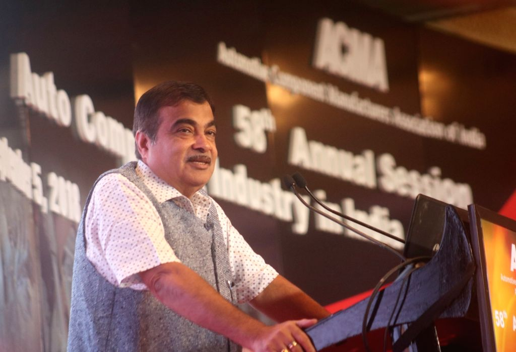 Union Transport Minister Nitin Gadkari addresses at the 58th annual session of Automotive Component Manufacturers Association of India (ACMA), in New Delhi on Sept 5, 2018. - Nitin Gadkari