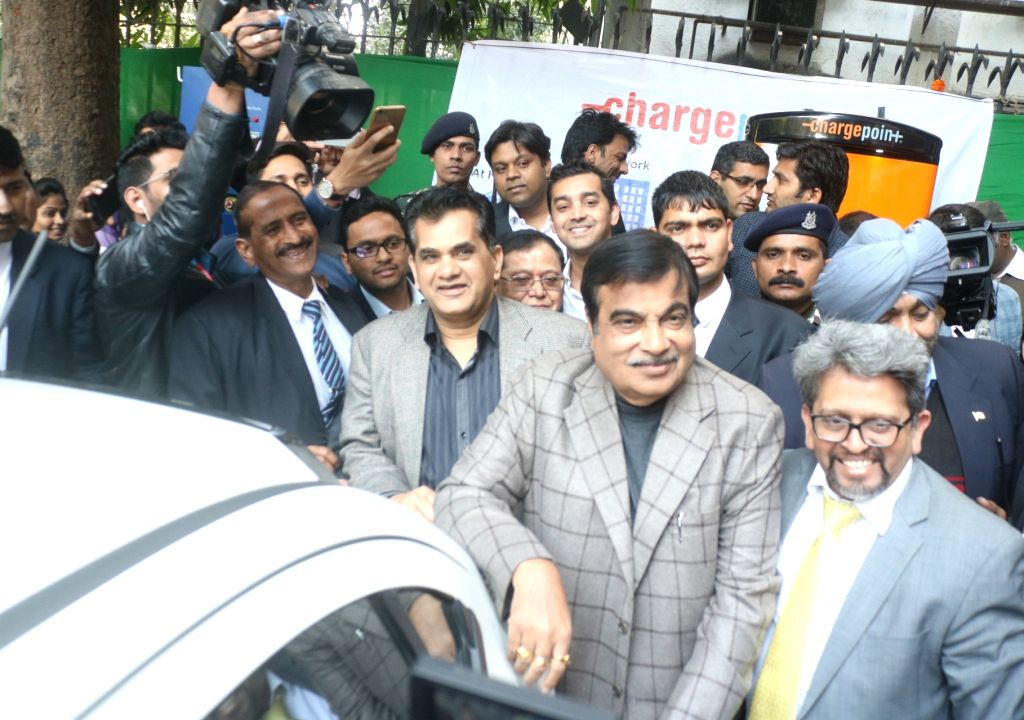 Union Transport Minister Nitin Gadkari and NITI Aayog CEO Amitabh Kant during a programme organised to inaugurate and EV (Electric Vehicle) charging station at NITI Ayog in New Delhi, on ... - Nitin Gadkari