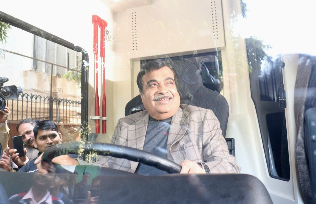 Union Transport Minister Nitin Gadkari behind the steering wheels during a programme organised to inaugurate and EV (Electric Vehicle) charging station at NITI Ayog in New Delhi, on Feb ... - Nitin Gadkari