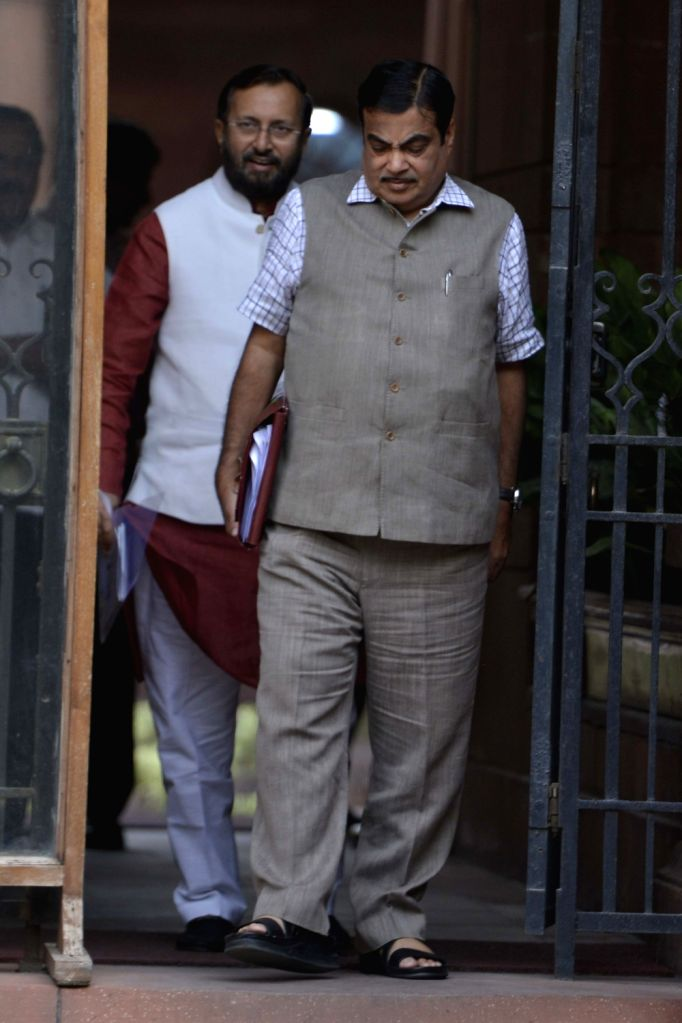 Union Transport Minister Nitin Gadkari comes out after a Cabinet Meeting at South Block in New Delhi on May 24, 2017. - Nitin Gadkari