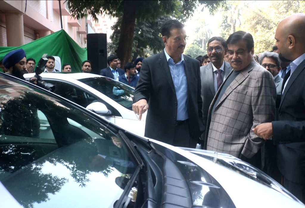 Union Transport Minister Nitin Gadkari during a programme organised to inaugurate and EV (Electric Vehicle) charging station at NITI Ayog in New Delhi, on Feb 15, 2018. - Nitin Gadkari