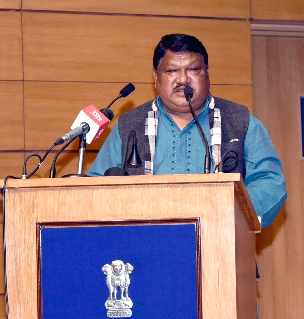 Union Tribal Affairs Minister Jual Oram addresses at the Foundation Day Lecture of National Commission for Scheduled Tribes (NCST) on 'Constitution and Tribes', in New Delhi, on Feb ... - Jual Oram