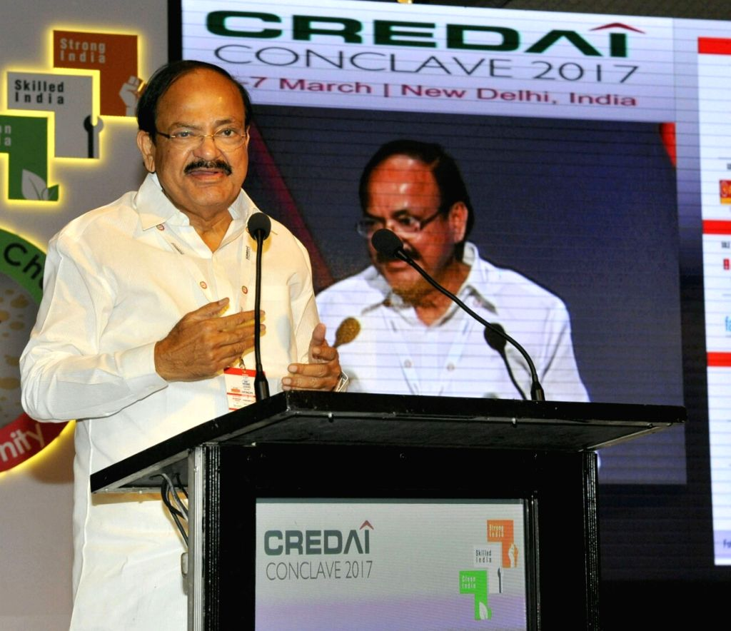 Union Urban Development Minister M. Venkaiah Naidu addresses at the CREDAI Conclave, in New Delhi on March 6, 2017. - M. Venkaiah Naidu