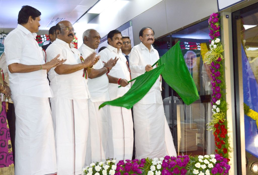 Union Urban Development Minister M. Venkaiah Naidu and Tamil Nadu Chief Minister Edappadi K. Palaniswami jointly flag off Chennai Metro Rail from Thirumangalam to Nehru Park, at ... - M. Venkaiah Naidu