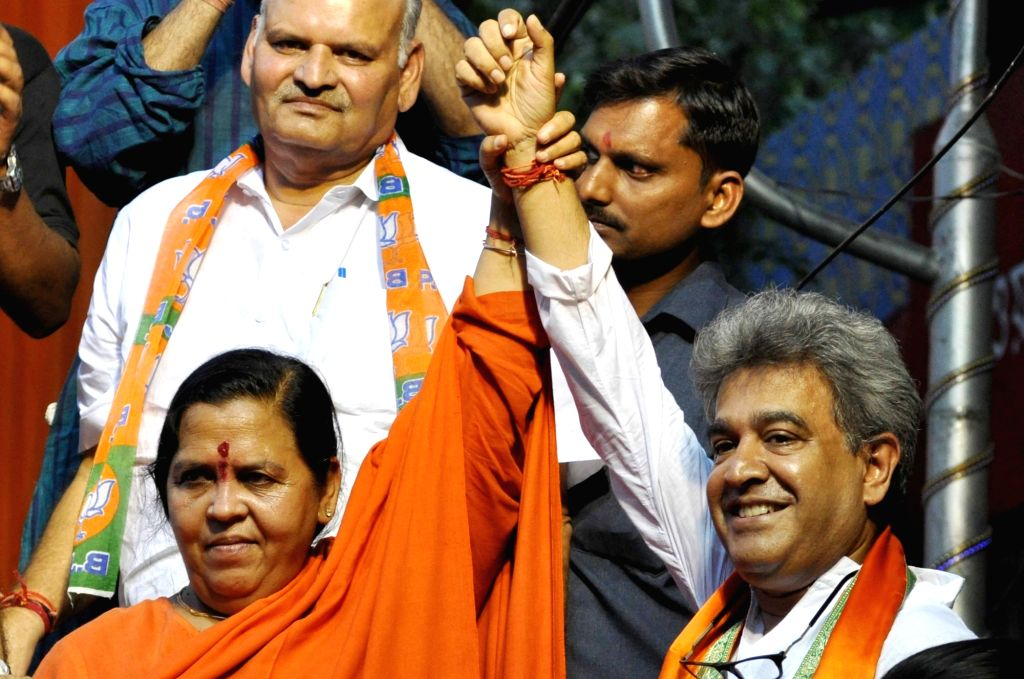 Union Water Minister Uma Bharati during an election campaign ahead of the third phase of West Bengal assembly polls in Kolkata, on April 13, 2016. - Uma Bharati