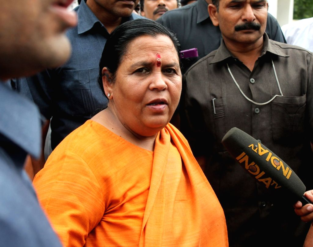 Union Water Resources Minister Uma Bharti arrives to meet RSS chief Mohan Bhagwat in Nagpur on July 5, 2017. - Uma Bharti