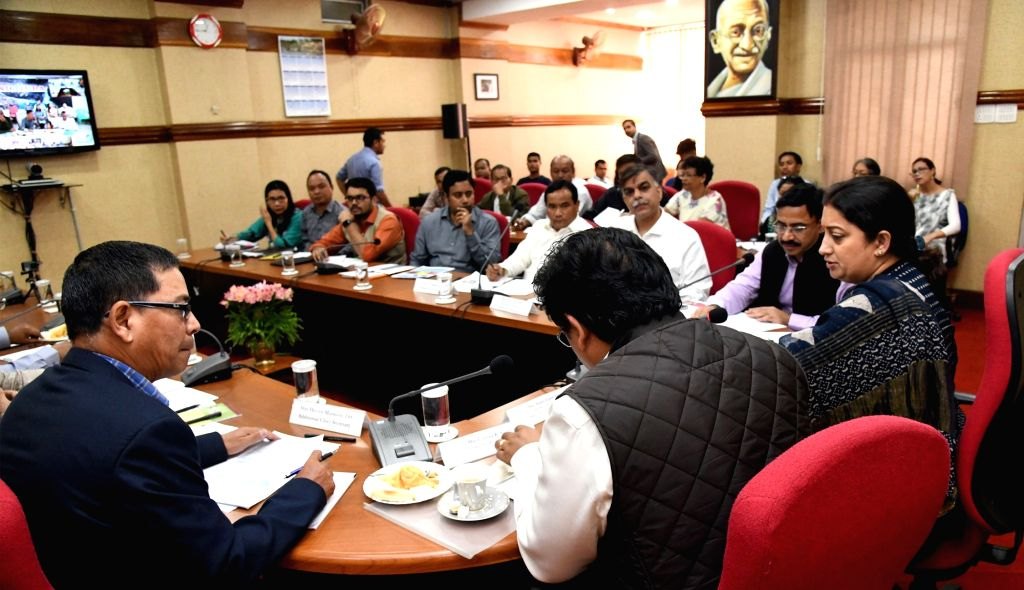 Union Women and Child Development and Textiles Minister Smriti Irani chairs a review meeting regarding Poshan Abhiyaan with the officials of Social Welfare and Health Department of ... - Smriti Irani