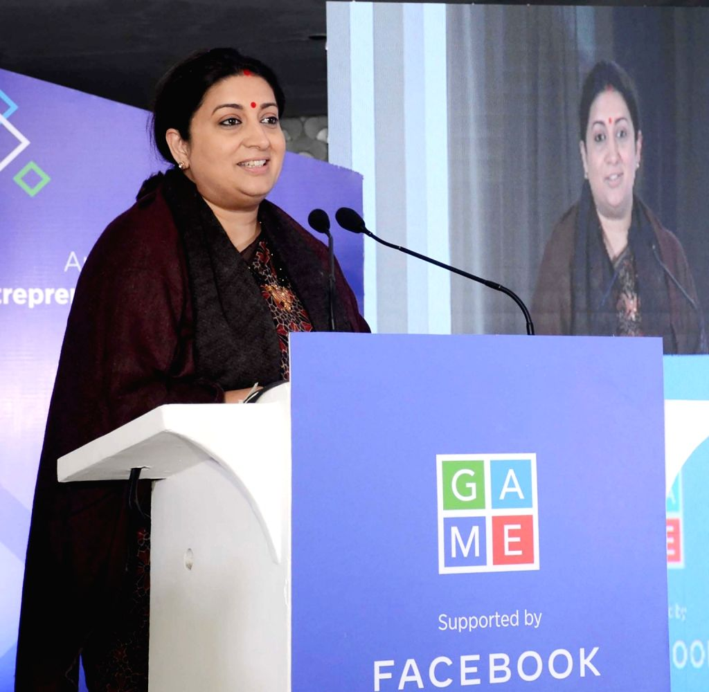 Union Women and Child Development and Textiles Minister Smriti Irani addresses at the launch of a report on Women Entrepreneurs, in New Delhi on Dec 12, 2019. - Smriti Irani