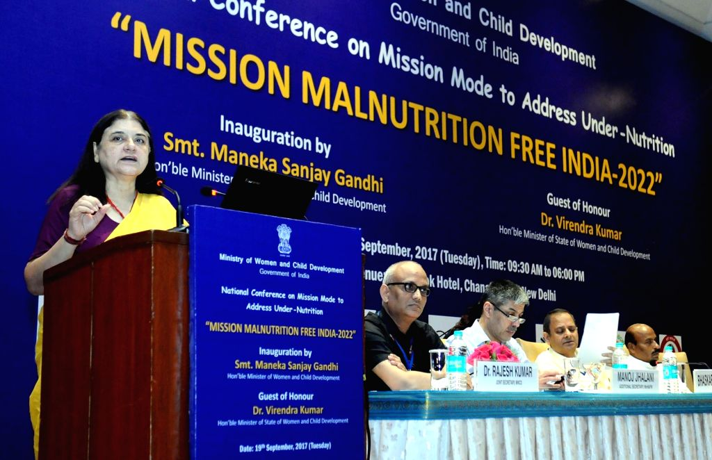 Union Women and Child Development Minister Maneka Sanjay Gandhi addresses during the National Conference on Mission Mode to address Under-Nutrition in New Delhi on Sept 19, 2017. - Maneka Sanjay Gandhi