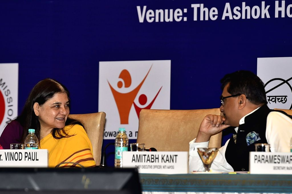 Union Women and Child Development Minister Maneka Sanjay Gandhi during the National Conference on Mission Mode to address Under-Nutrition in New Delhi on Sept 19, 2017. - Maneka Sanjay Gandhi