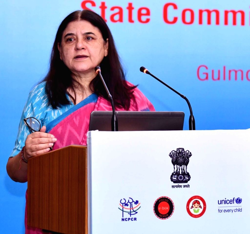 Union Women and Child Development Minister Maneka Sanjay Gandhi addresses at the workshop on Safety and Security of Children with State Commission for Protection of Child Rights (SCPCRs), ... - Maneka Sanjay Gandhi