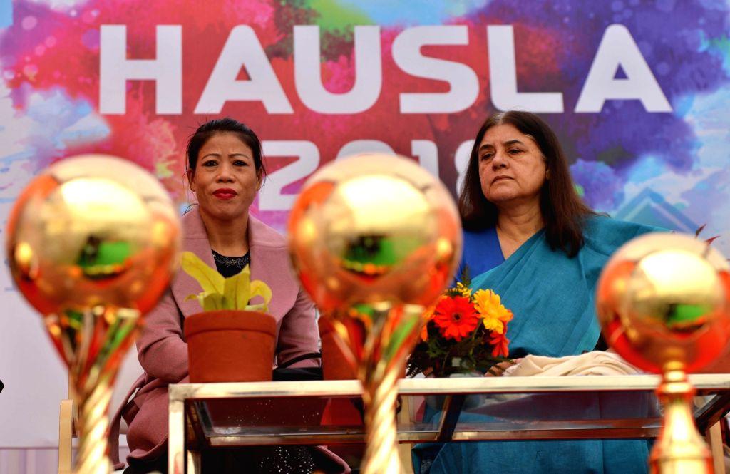 Union Women and Child Development Minister Maneka Gandhi and Rajya Sabha MP and Indian Olympic Boxer M.C. Mary Kom at the inauguration of HAUSLA 2018 Sports Meet open, at Jawaharlal Nehru ... - Maneka Gandhi and Mary Kom