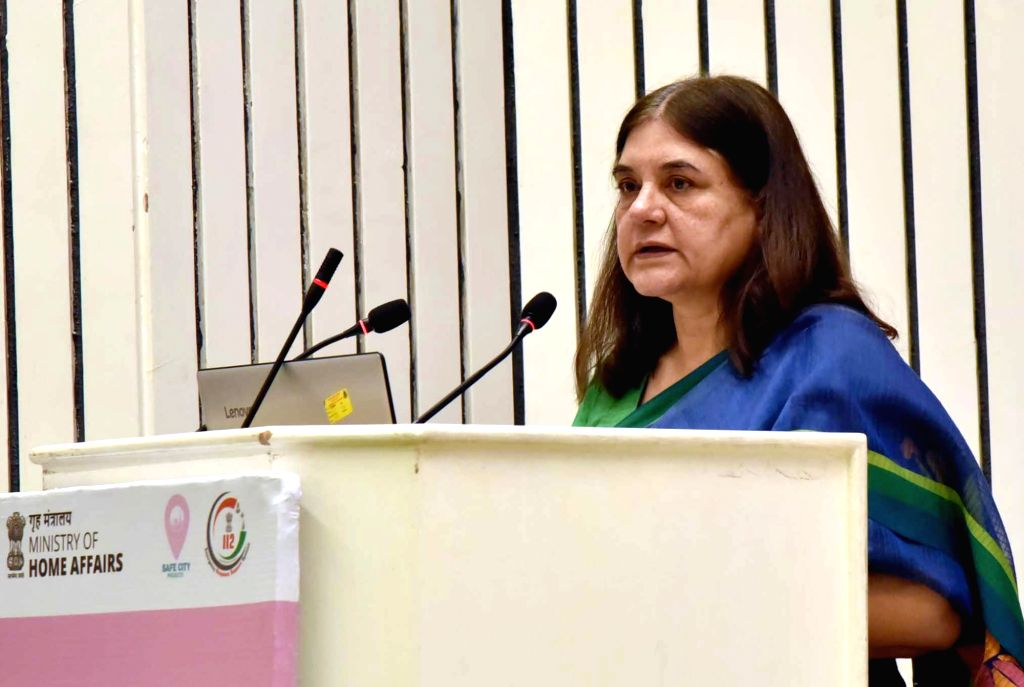 Union Women and Child Development Minister Maneka Sanjay Gandhi addresses at the launch of pan-India emergency number 112 under Emergency Response Support System (ERSS), in New Delhi, on ... - Maneka Sanjay Gandhi