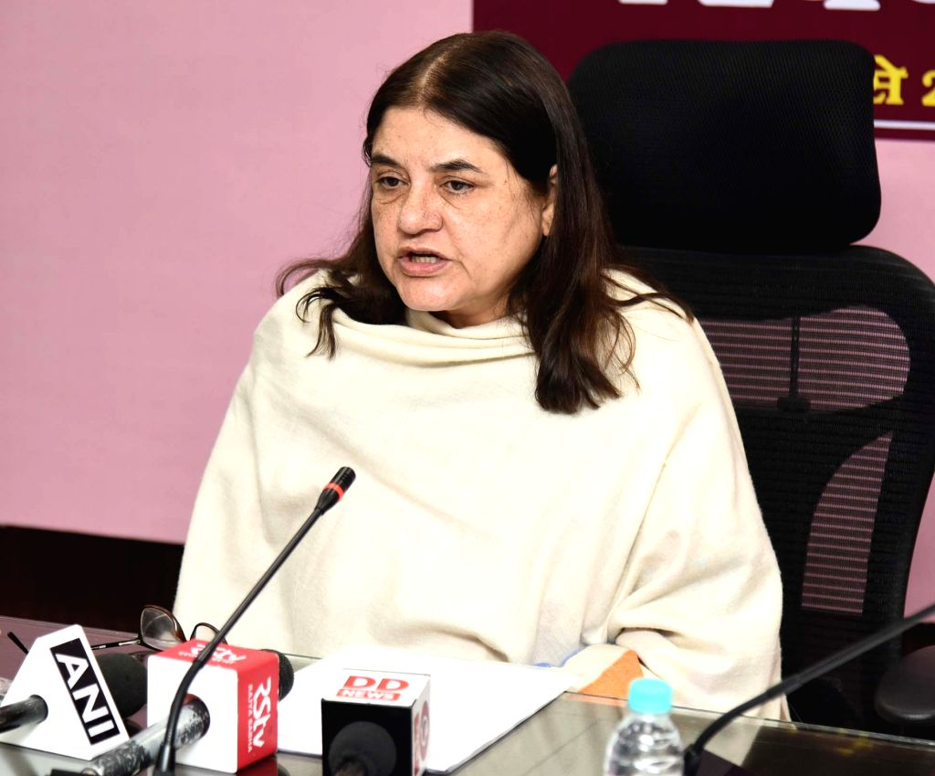 Union Women and Child Development Minister Maneka Gandhi addresses a press conference on Poshan Abhiyan, in New Delhi, on March 1, 2019. - Maneka Gandhi