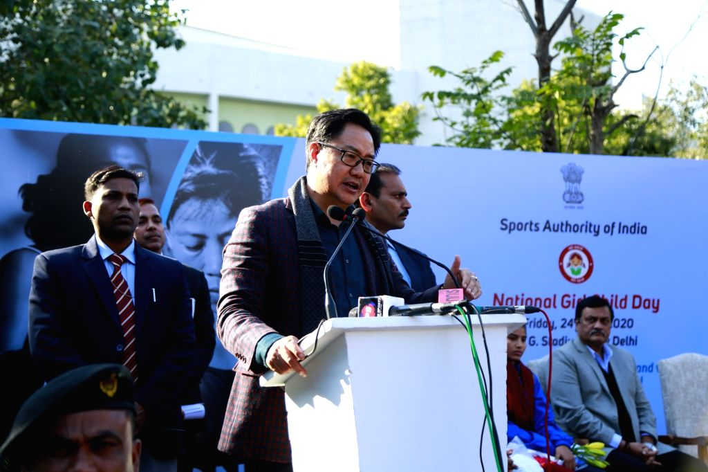 Union Youth Affairs and Sports (Independent Charge) Kiren Rijiju addresses during a programme organised to felicitate woman athletes on the occasion of National Girl Child Day, in New ...