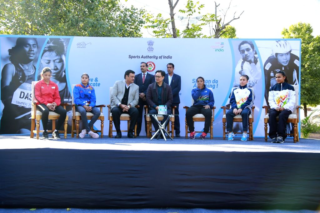 Union Youth Affairs and Sports (Independent Charge) Kiren Rijiju during a programme organised to felicitate woman athletes on the occasion of National Girl Child Day, in New Delhi on Jan ...
