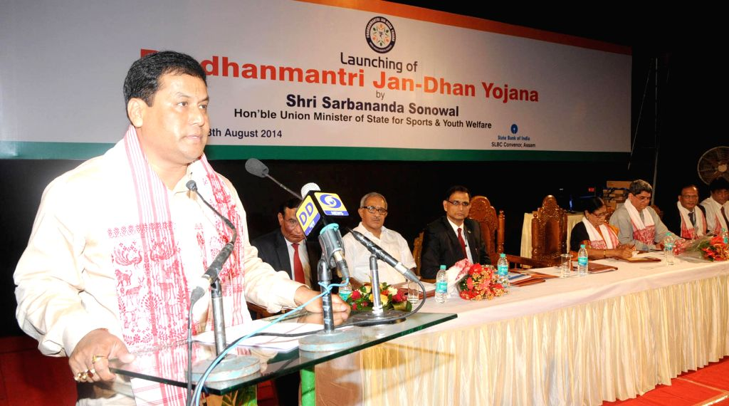 Union Youth Affairs and Sports Minister Sarbananda Sonowal addresses at the inaugural function of Prime Minister Jan-Dhan Abhiyan in Guwahati on Aug 28, 2014. - Sarbananda Sonowal