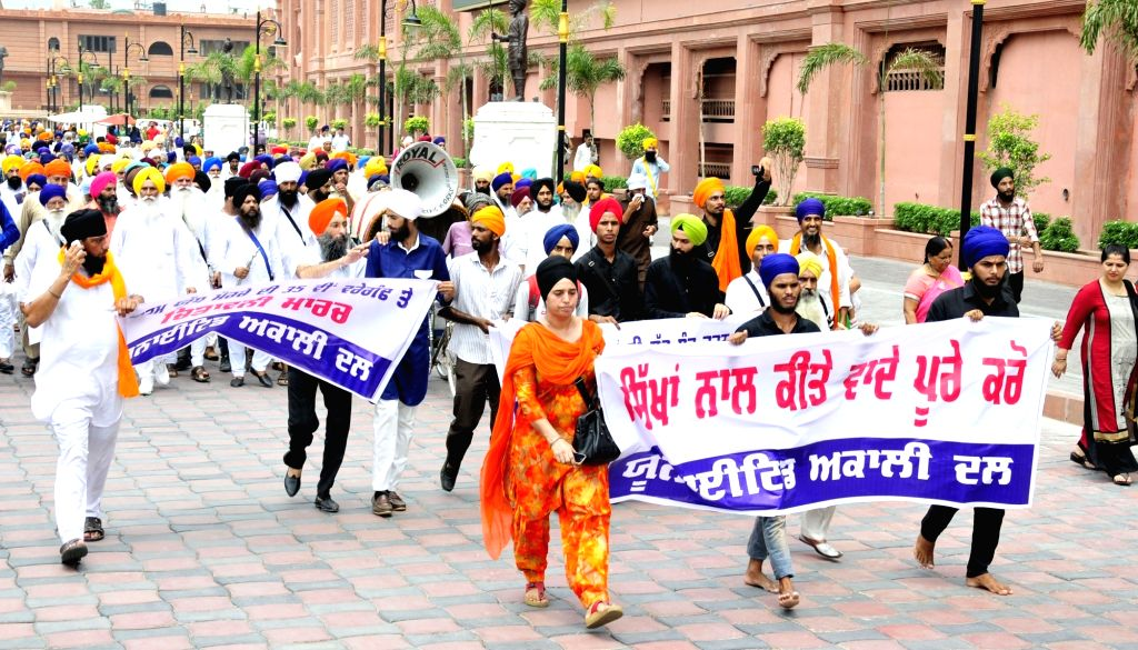 United Akali Dal activists take out a march to Akal takhat demanding implementation of resolution passed in Anandpur sahib in 1973 on the occasion of 35th anniversary of Dharam Yudh Morcha; ...